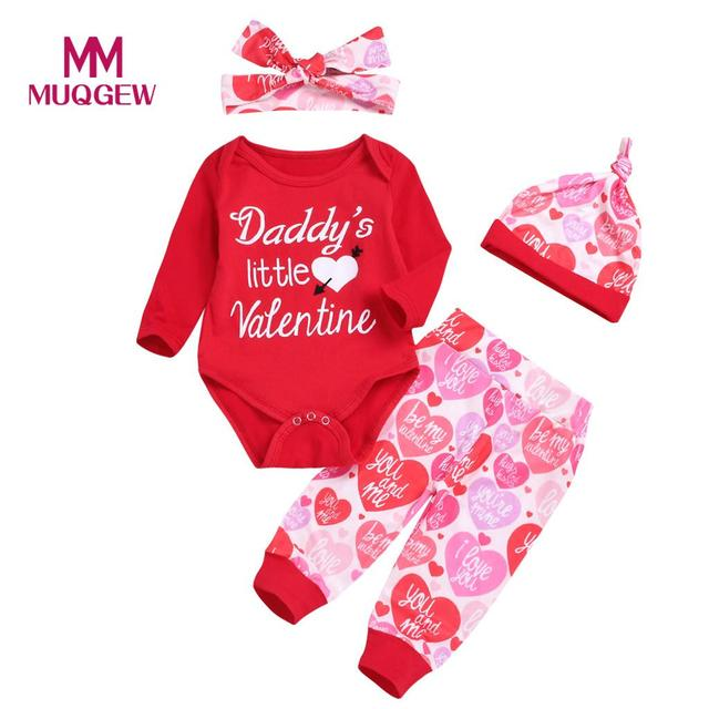 b09517053 MUQGEW Valentine's Day Newborn Baby Boy Girl Letter Daddy's little Valentine  Romper Pants Hat Set Outfits Clothes bebek giyim