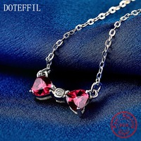 100 Sterling Silver Women Charm Love Necklace High Quality AAAA Zircon Heart Necklace Fashion Jewelry