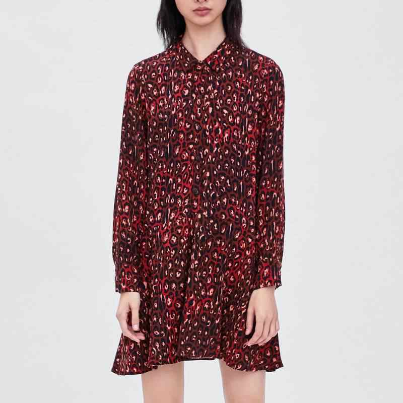 caf639b719 Vintage Red Leopard Print Women Mini Shirt Dress Turn Down Collar Long  Sleeve Female Animal Pattern