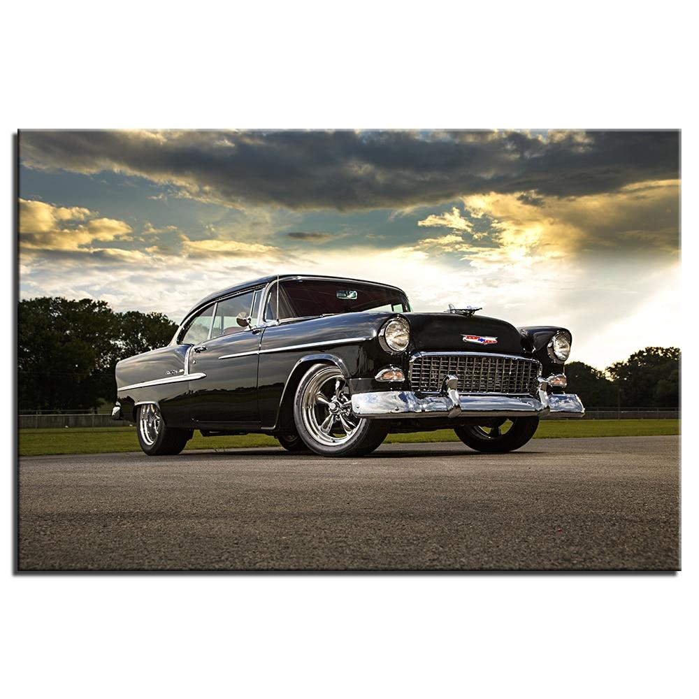 Wall Art Decoration 1955 Chevrolet Vintage Car Poster Canvas Prints DIY Framed Vehicle Painting ...