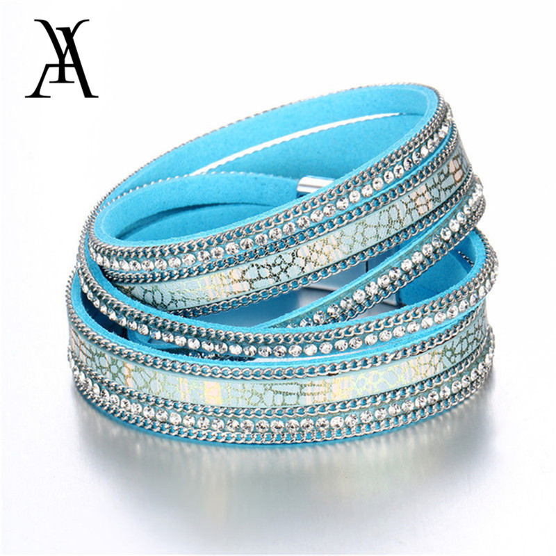 2018 New Leather Crystal Bracelet Wrap Multilayer Bracelets for women Feminino Pulseras Mulher Jewelry Bracelets for Women