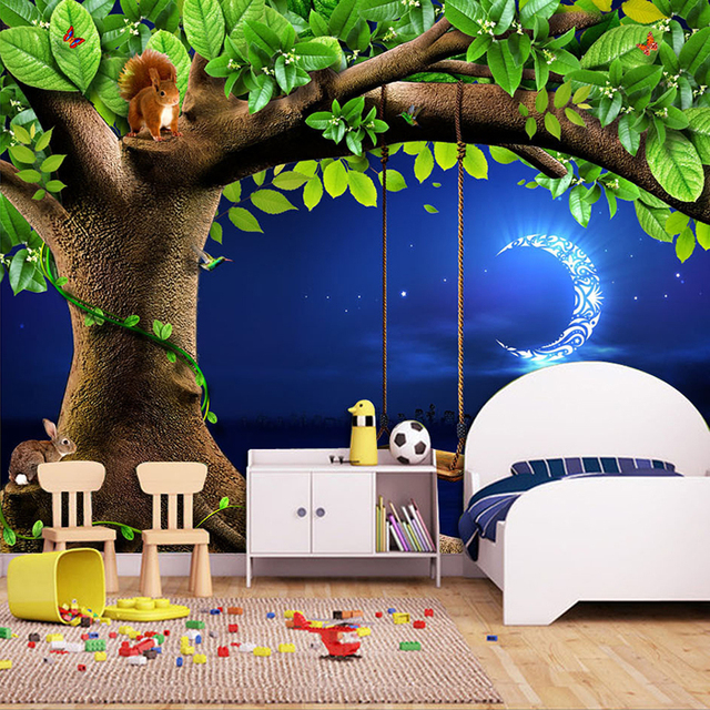 Benutzerdefinierte 3D Fototapete Nachthimmel Mond Baum Tier ...