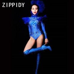 Блестящие голубые стразы перо сексуальное боди большие кристаллы одежда ночной клуб певица Для женщин выпускного вечера вечерние этап Пок...