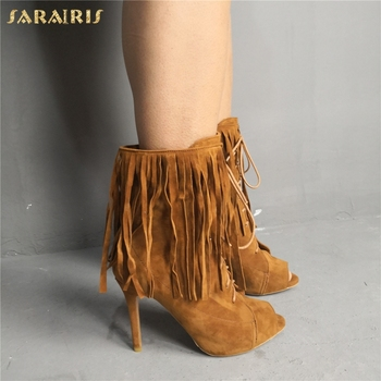 SARAIRIS High Quality Sexy Summer Boots Plus Size 47 Party Sandals Women Shoes Gladiator Fringes High Heels Shoes Woman