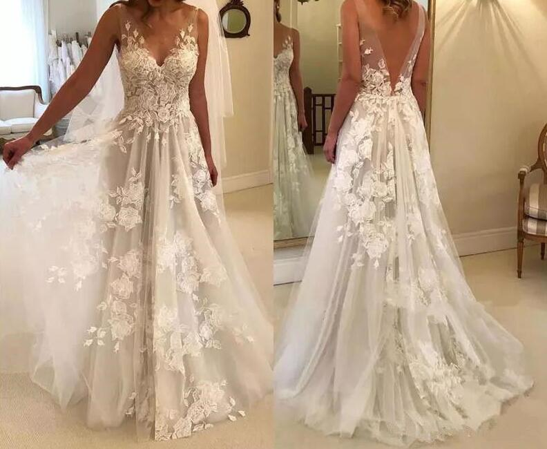 Купить с кэшбэком Sexy Wedding Dresses Long V Neck Party Gowns Back Deep V Appliques Vestido De Noiva Vestido De Novia Fotos Reales