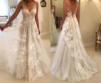 Sexy Wedding Dresses Long V Neck Party Gowns Back Deep V Appliques Vestido De Noiva Vestido De Novia Fotos Reales 1