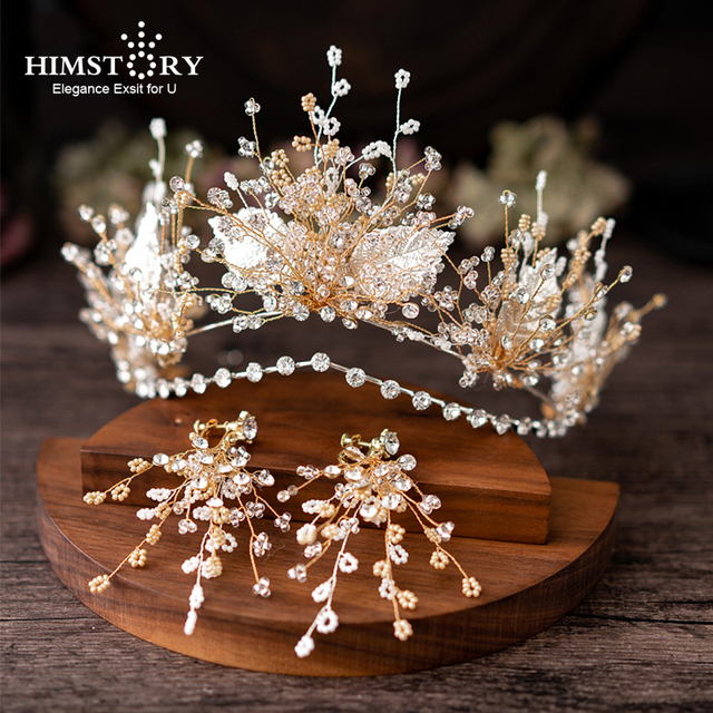 HIMSTORY European Gold Brides Tiaras Crowns Handmade Leaf Crystal Headpieces Wedding Headbands Accessory Holiday Hair Jewelry