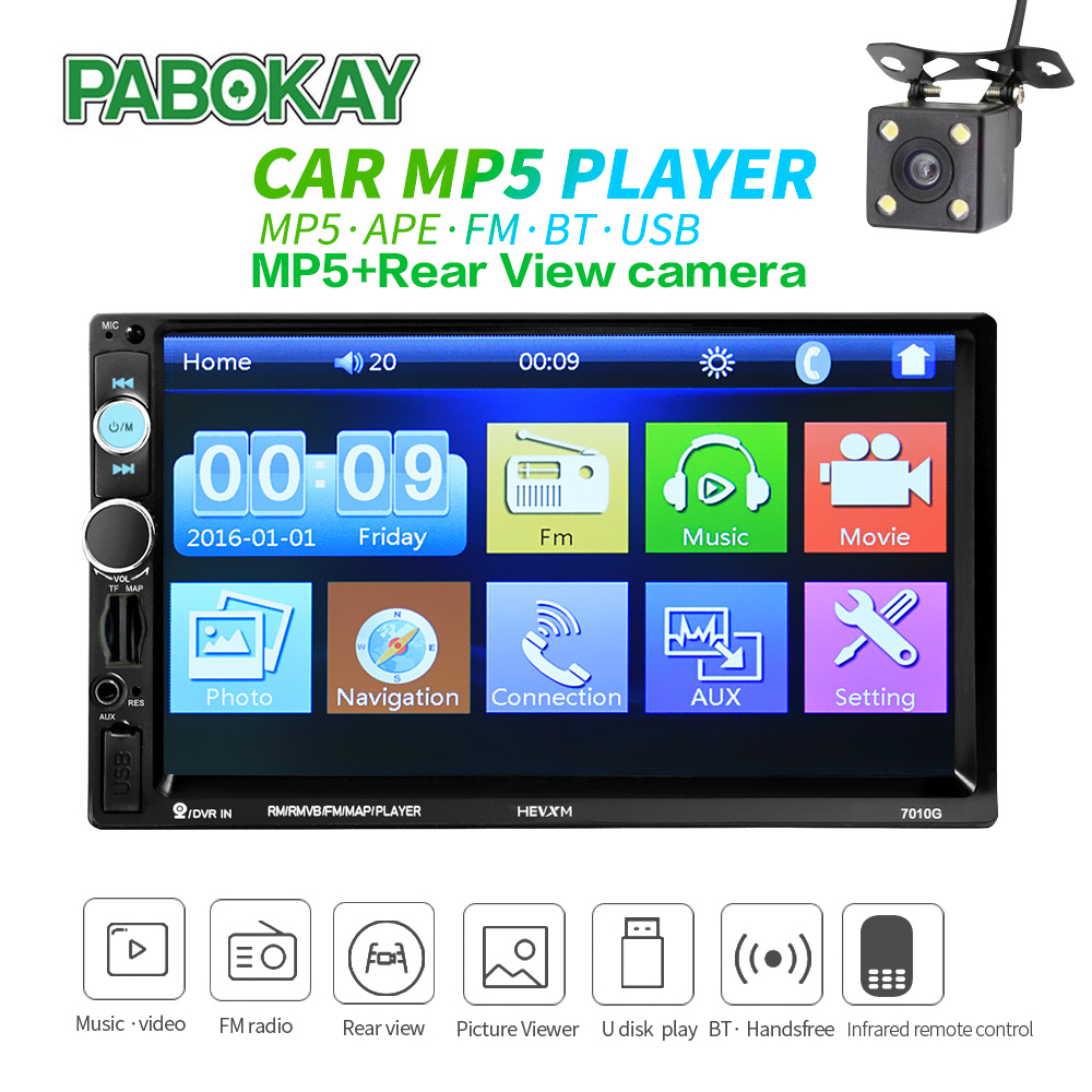 7 inch HD Car Radio GPS Navigation Player Camera Bluetooth AUX MP3 MP5 Stereo FM Audio USB Auto Electronic 2din <font><b>Autoradio</b></font> image