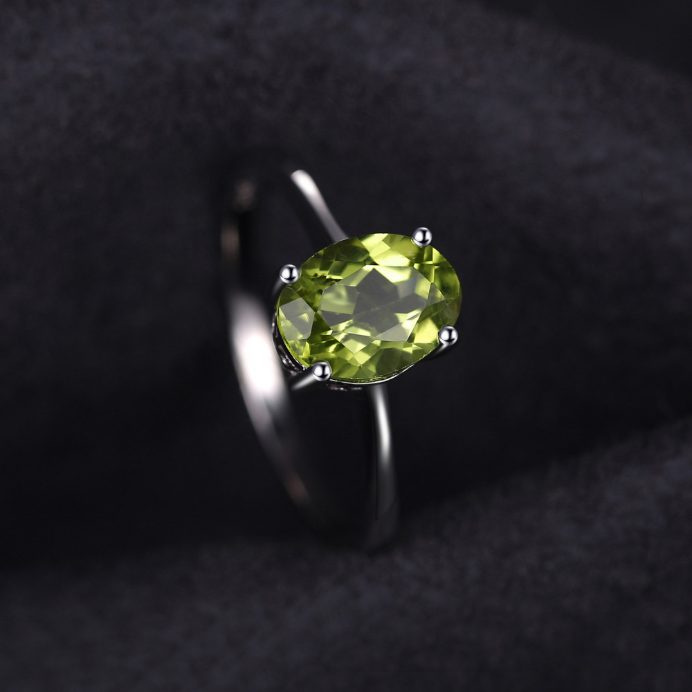 JewelryPalace Oval 1.4ct Natural Green Peridot Birthstone Solitaire Ring Genuine 925 Sterling Silver mEwEyG9j