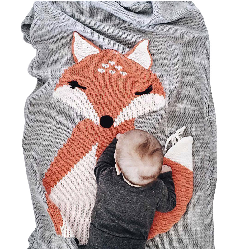 Knitted Baby Blanket Cotton Solid Kids Swaddle Cute Fox Blanket For Boy Girl Spring Autumn Baby Outdoor Car Blanket Baby Bedding sweet knitted stretchy hit color fishtail blanket for kids