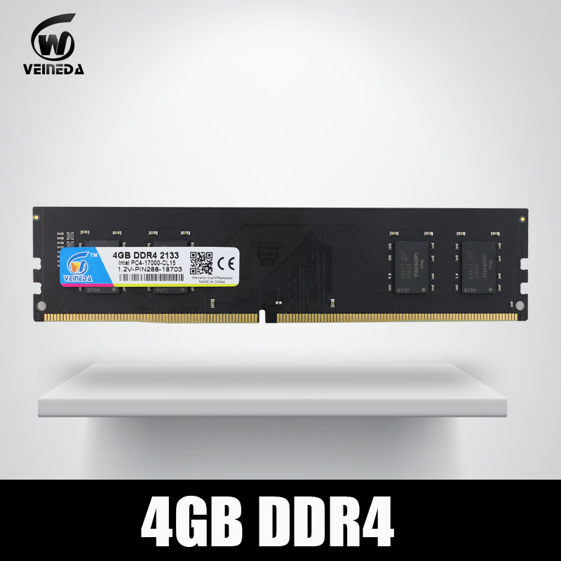 VEINEDA Dimm Ram DDR4 4 gb PC4-17000 Mémoire Ram ddr 4 2133 Pour Intel AMD DeskPC Mobo ddr4 4 gb 284pin