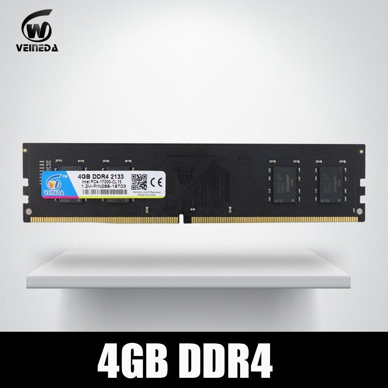 VEINEDA Dimm Ram DDR4 4 gb PC4-17000 Mémoire Ram ddr 4 2133 Pour Intel AMD DeskPC Mobo ddr4 4 gb 284pin