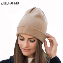 ZJBECHAHMU Spring New Fashion Soild Vintage Elegant Wool Skullies Beanies Hats For Women Girl Winter Warm Cotton Snapback