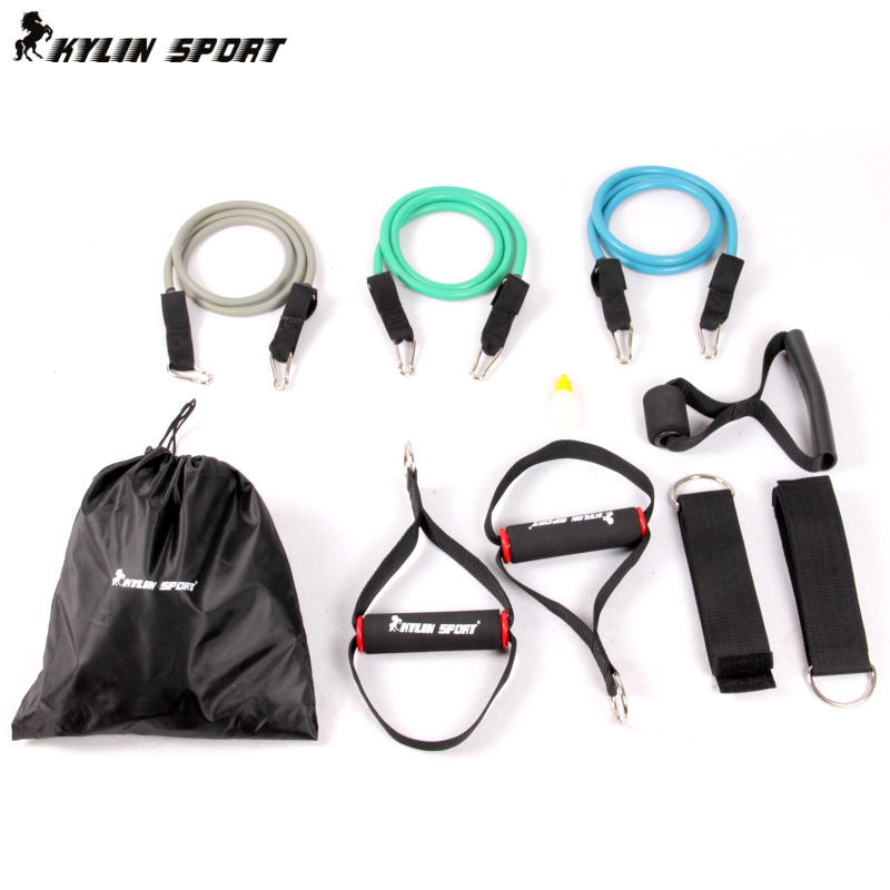 ФОТО Three color double-resistance yoga band multifunction resistance band suspension kit  Strength Training latex belts