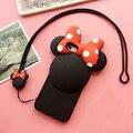Nuevo silicio de la historieta 3d minnie mouse case para iphone 6 6 S 6 SPlus 4.7 5.5 pulgadas de goma de la contraportada con la correa Libre gratis