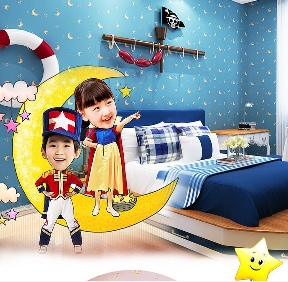 ФОТО Moon environmental non-woven wallpaper warm children's room bedroom wallpaper wallpaper wholesale boys and girls room