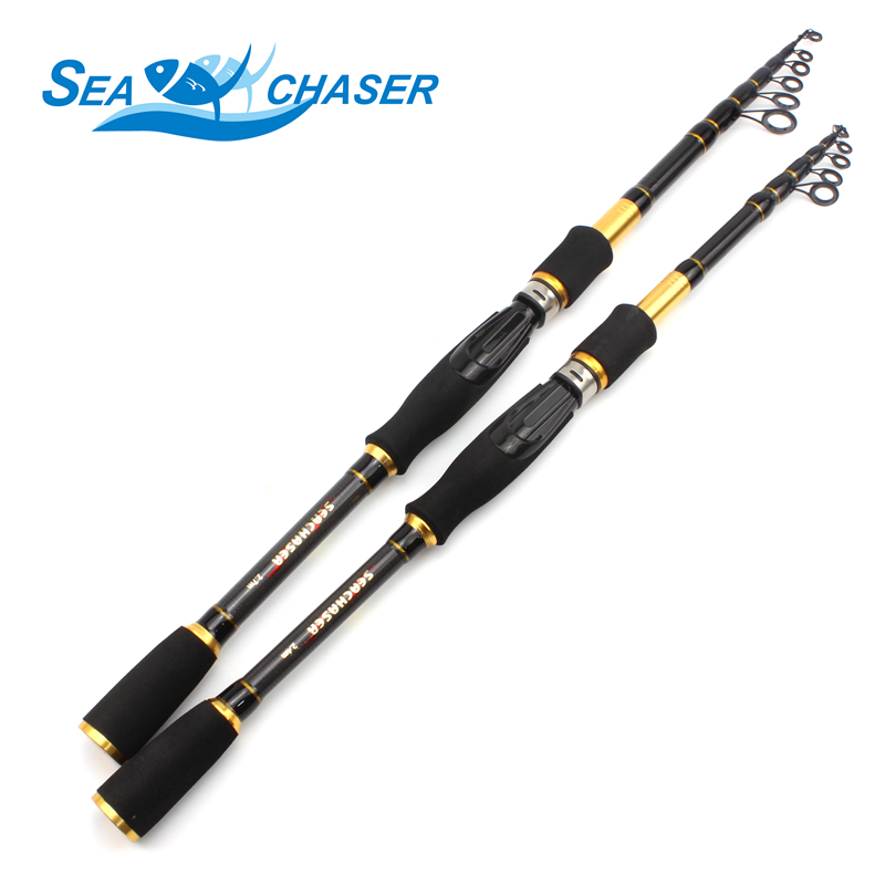 Carbon M power lokke 7g -28g 1.8M - 2.7M Portable Telescopic Fishing Rod Spinning Fish Hand Fiske Håndtak Sea Rod