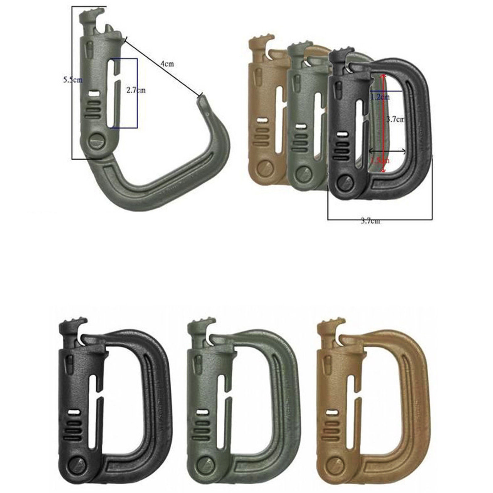 10 Pcs/lot Grimloc D Shape Carabiner Buckle Webbing Belt/strap Bergen Rucksack ITW Ghillie