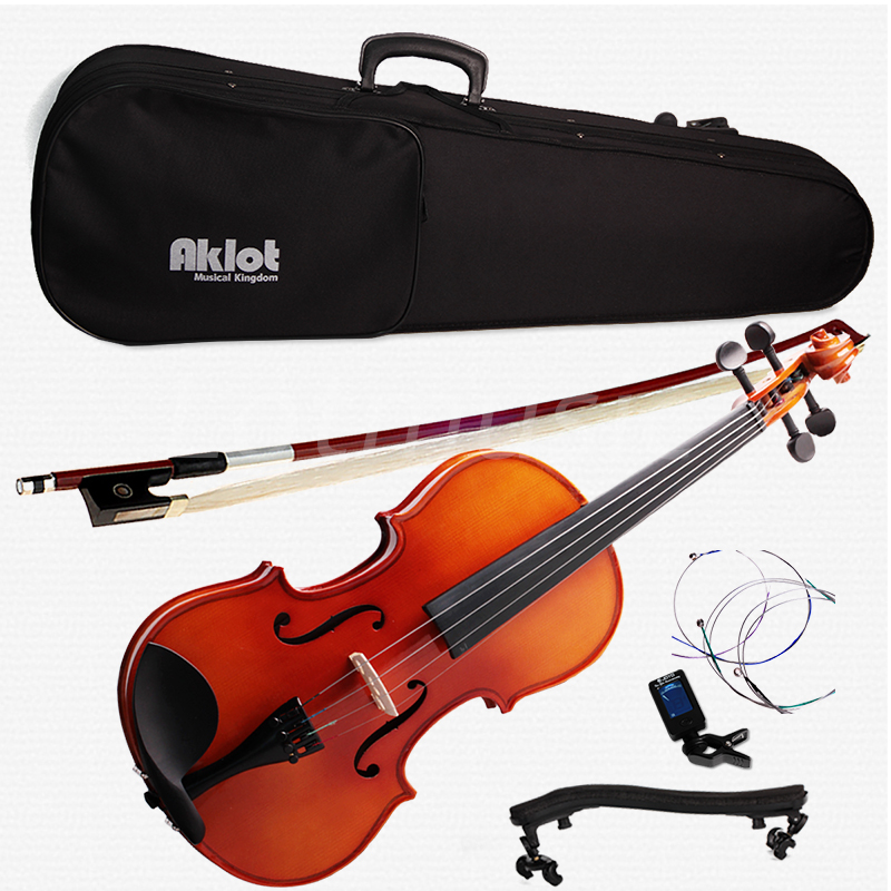 Vioin 4/4 Full Size Natural Acoustic Fiddle with Case Bow Shoulder Rest Tuner Violin Rosin Wood Musical Instruments full size 4 4 solid basswood electric acoustic violin with violin case bow rosin parts accessories for musical instruments lover