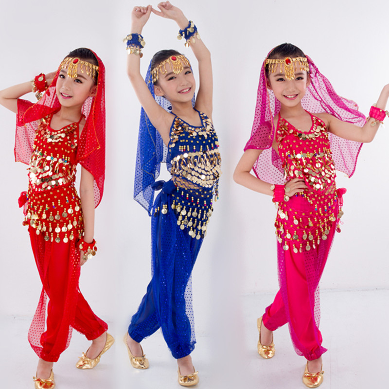 Bellydance Kids Belly Dance Costumes for Children Belly Dancing Set Girls Bollywood Indian Performance Handmade Clothes 6 Colors