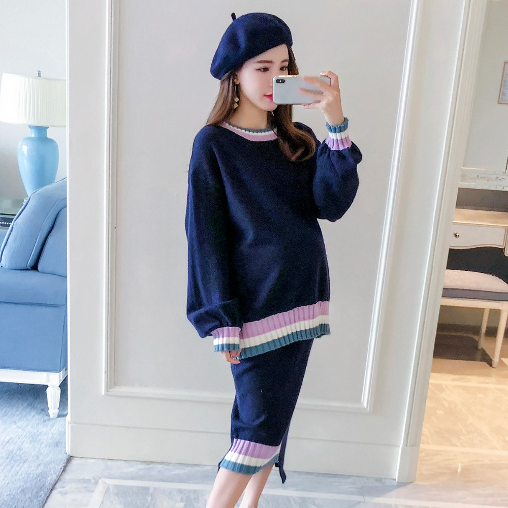 Pregnant women autumn suit fashion models 2018 new knitted skirt two-piece loose pregnancy maternity dress women work dress longsleeve spring new european station grid pencil skirt fake two professional dress l13