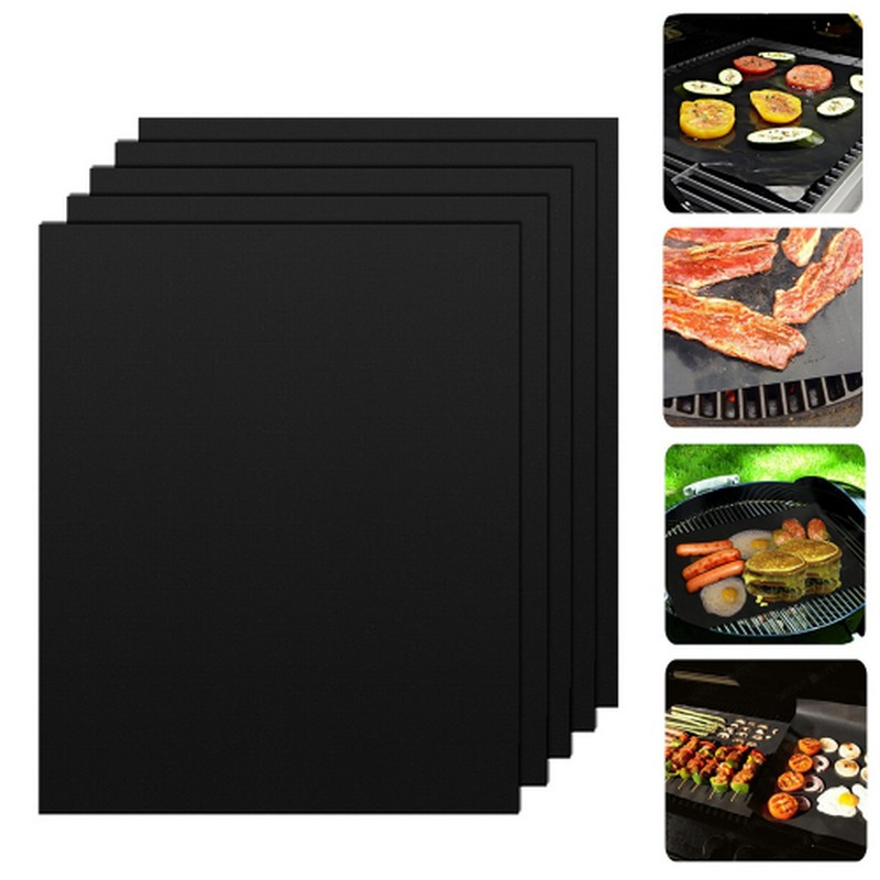 5 Pcs Non Stick Surface Heat Resistant BBQ Grill Mats 40 33cm Durable Barbecue Baking Mats