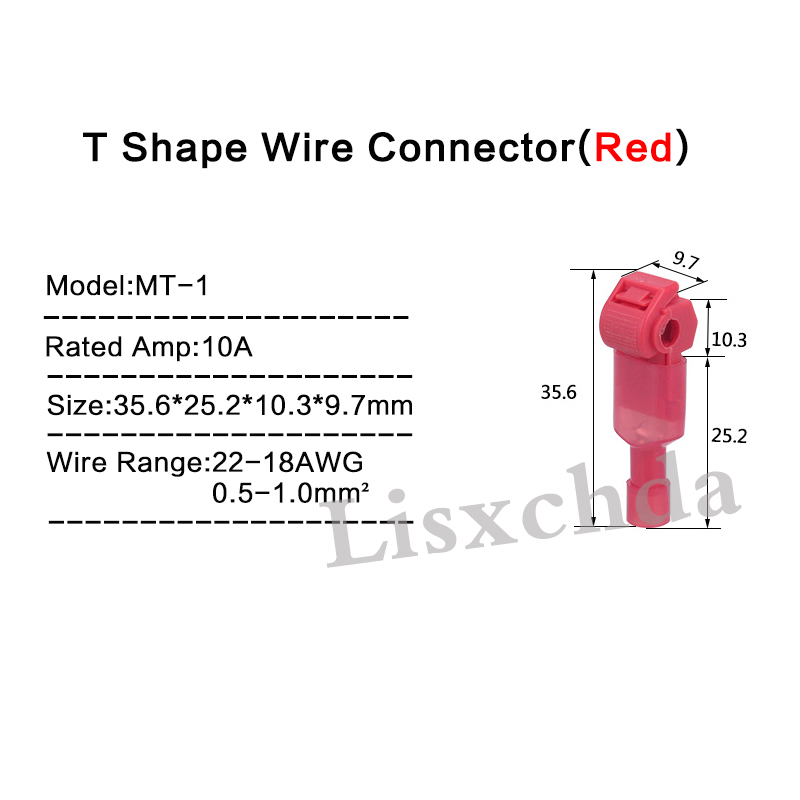 free shipping 40pcs RED 22 18 AWG T TAPS & MALE WIRE CONNECTORS ...