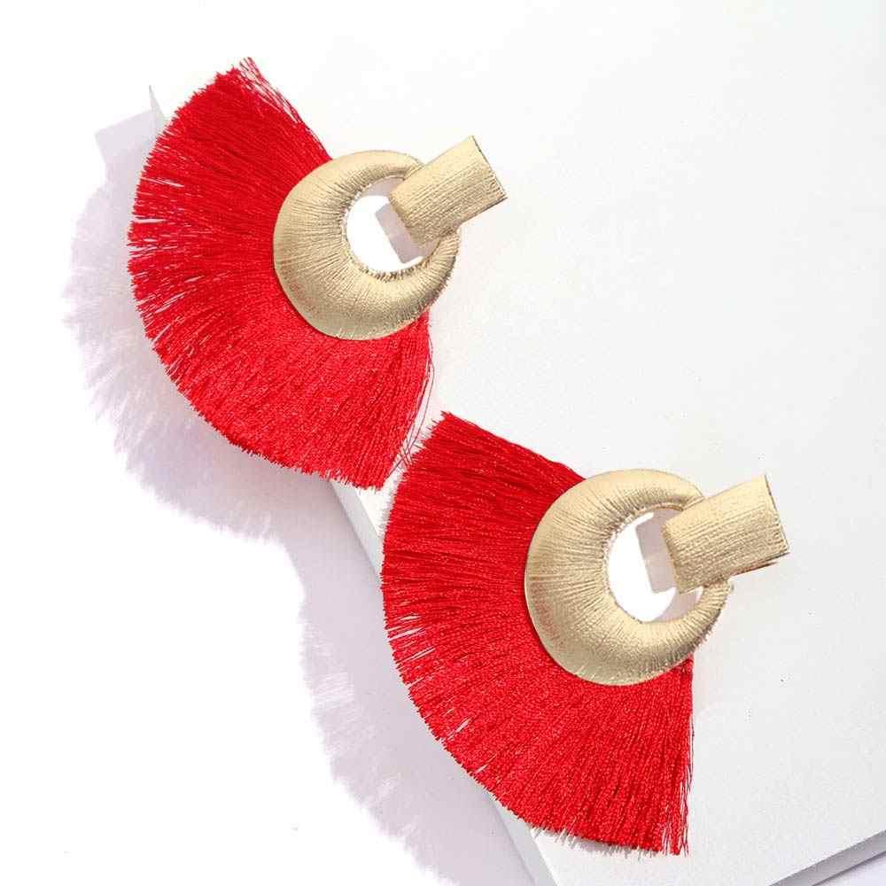 Flatfoosie New Vintage Tassel Drop Earrings 2018 Fashion Bohemia Large Circle Fringe Long Dangle Earring For Women Party Jewelry