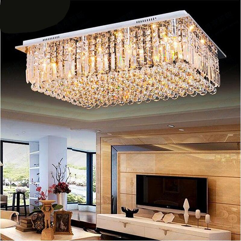 Moderno led sala da pranzo lampadario grande cristallo camera da letto lampada da atmosfera soggiorno luci colorate semplice rettangolare villa led