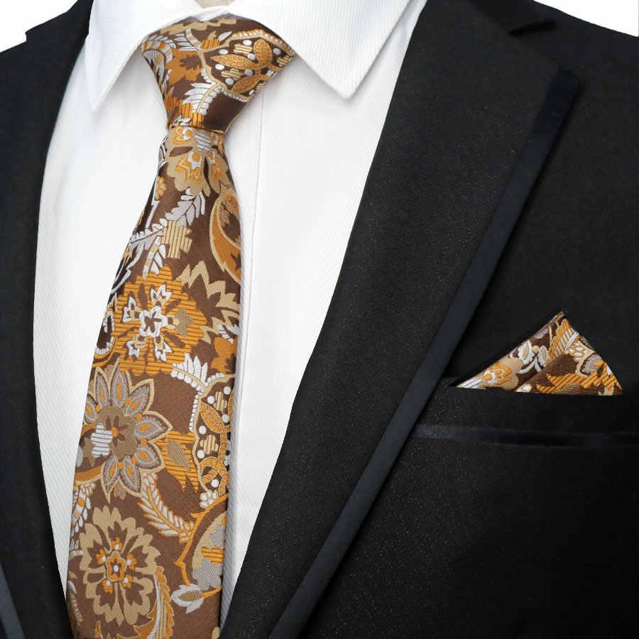 2752d7ae32f0 DOOBU Classic Men Tie Pocket Square Set 100% Silk Jacquard Woven Orange  Brown Flower Ties