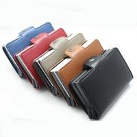 5 colour Men Rfid Blocking Wallet Mini PU Leather Business Aluminium Credit Card Holder Automatic Pop Up ID Card Small Purse