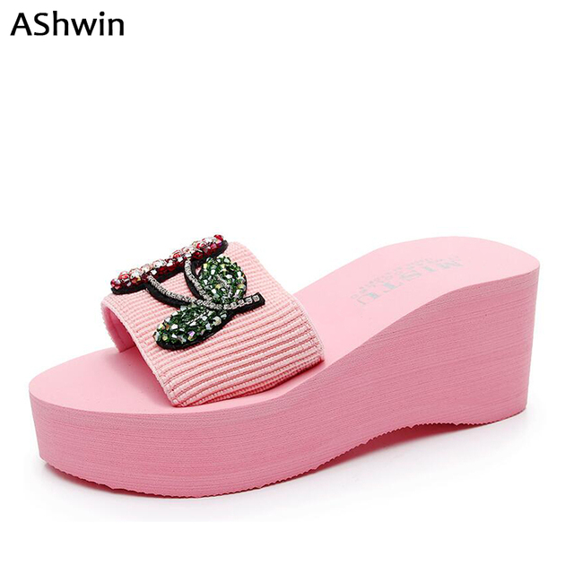 AShwin beach slippers slides sandals summer women shoes wedge platform high  heels quality rhinestones outdoor hawaiian mules 63bdd69a9f1f