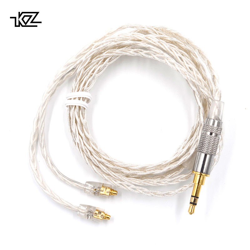 Original KZ 8 Core Silver Plated Cable 3.5mm Earphone Cable With MMCX Connector for SE846 LZ A4 MAGAOSI K3 DQSM VT Eearphone