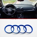 Para Audi A3 8 V 2012-2015 de acero inoxidable salida de ventilación de aire anillo azul 4 unids