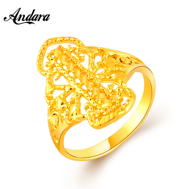 Andara Latest New Arrival Ethiopian Wedding Bridal Ring 24k Gold Color Fashion Jewellry Engagement Women