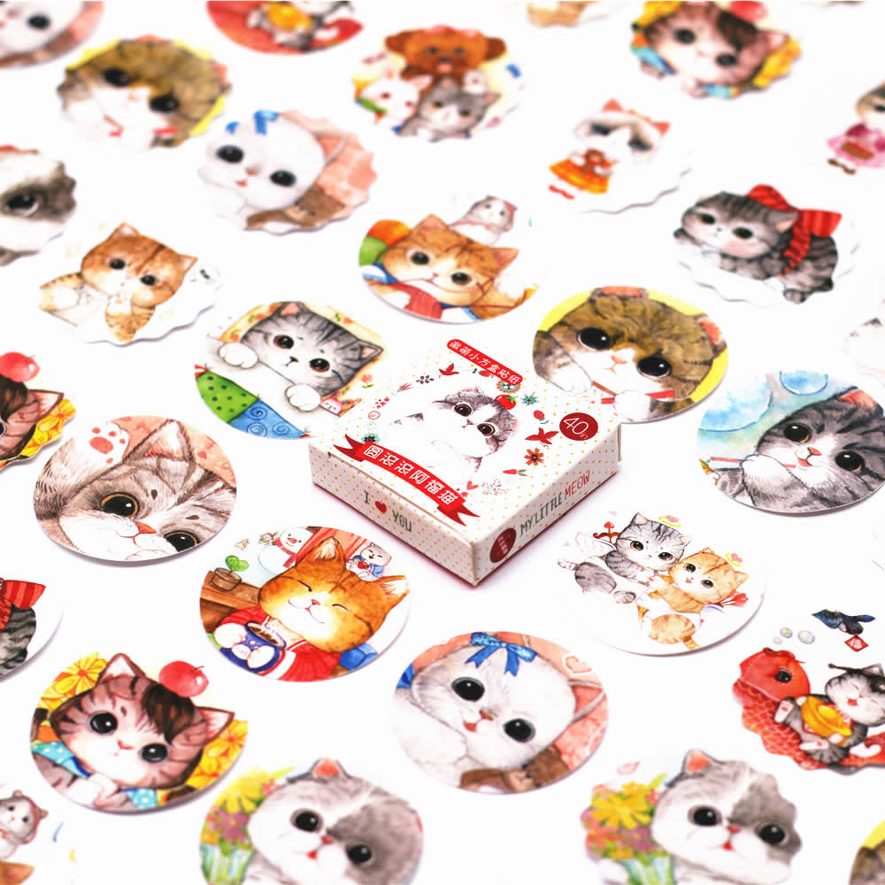 Hot Sale 40 Pcs Pack Chat Roulant Kpop Autocollant Pusheen