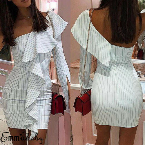 Women Sexy One Shoulder Bodycon Dress Sriped Sleeveless Dresses Ladies Party Club Mini Sundress Summer Casual Vestidos 2019 New