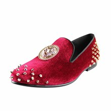 Harpelunde Men Prom Shoes Spikes Red Velvet Loafers 3D Lion Buckle Dress Flats
