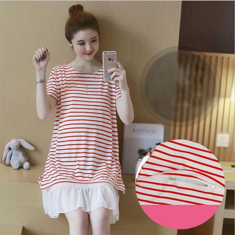 Casual Fashion Maternity Clothes Summer Short Sleeve Striped Pregnant Dress Maternity Nursing Dresses Breastfeeding Dress