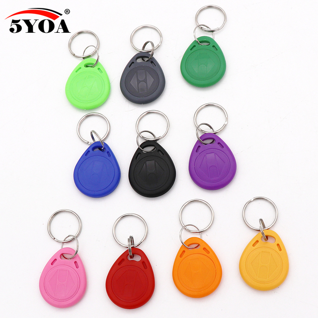5YOA 10Pcs EM4100 125khz ID Badge Keyfob RFID Tag Tags llavero Porta Chave Card Sticker Key Fob Token Ring Proximity Chip
