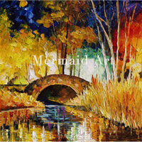 hand painted Palette knife thick Art Treasure Bridge Modern Artwork of Landscape canvens Oil Painting Wall Decoration Fine Art