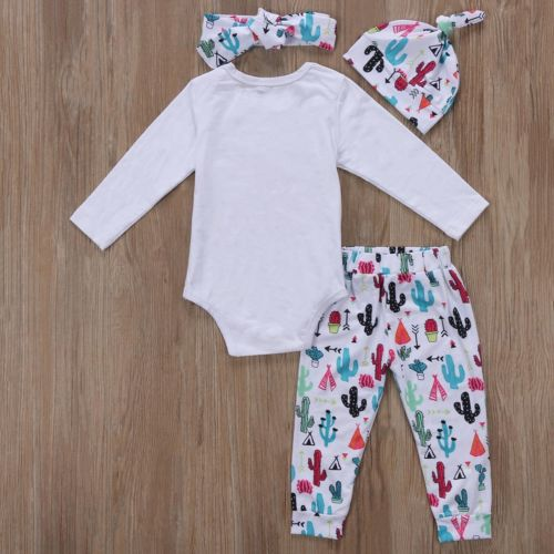 4pcs Toddler Baby Girl DADDYS Clothes Newborn Jumpsuit Romper Bodysuit+cactus Pants+hat+headband Outfit Set