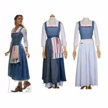 2017 Movie Beauty And The Beast Dress Maid Belle Costume Cosplay Dresses  Women Adult Halloween Party 7f19635dc665