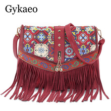 New Shoulder Bags for Women Tassels Women Messenger Bags Vintage Leather Printing Crossbody Bags Ladies Fashion