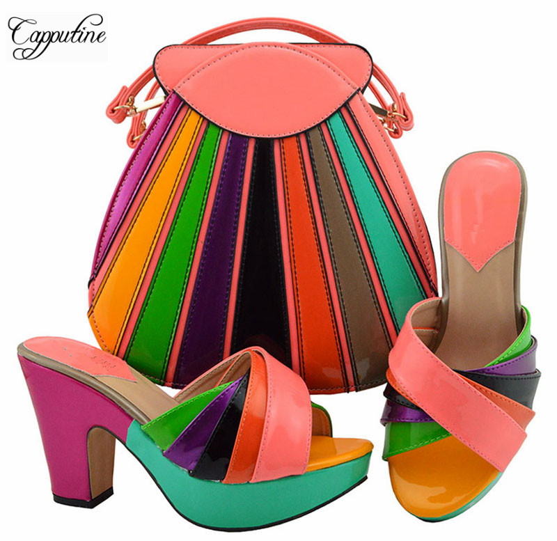 Fashion peach with colorful PU leather sandals and bag set series hot sale shoes with handbag set MD008Fashion peach with colorful PU leather sandals and bag set series hot sale shoes with handbag set MD008
