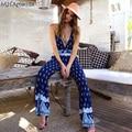 M.H.Artemis Boho backless Deep V-neck Jumpsuit Beachwear Folk Floral overalls sling Romper Pajama Sexy One piece Suit Pluz size