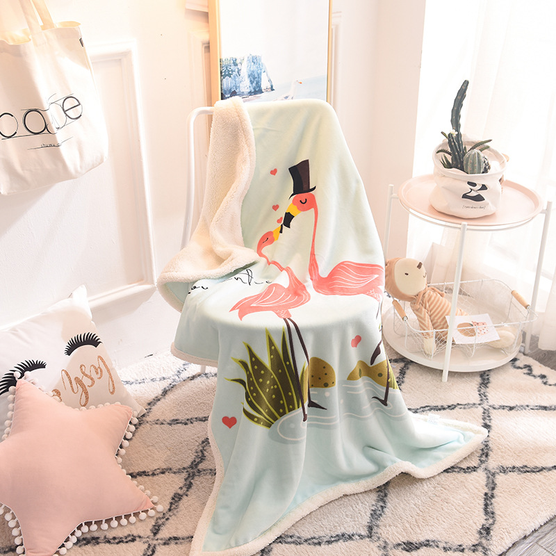 Summer Bedspread Lambs Wool Geometric Printed Blanket for Adults Children Thin Air conditioned Comforter colcha For Bed in Blankets from Home Garden