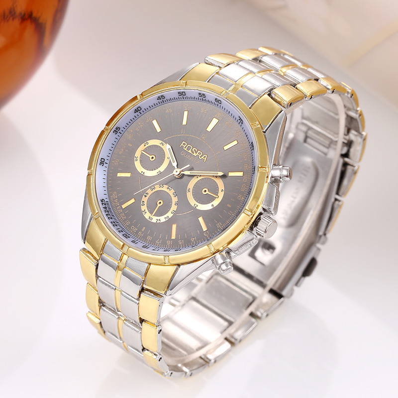 ROSRA Fashion Gold Watches Men Stainless Steel Business Quartz Watch orologio uomo Hour Clock montre homme relogio masculino rosra fashion gold watches men stainless steel business quartz watch orologio uomo hour clock montre homme relogio masculino