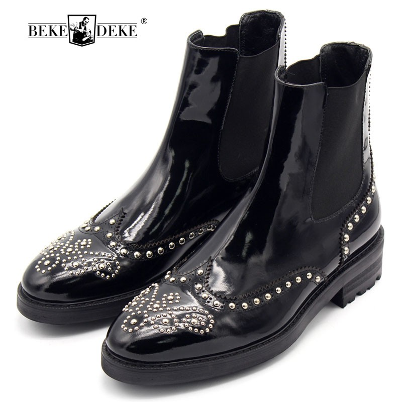 Carved Rivets Thick Bottom Ankle Boots Men Handmade New European 2018 Mens Genuine Leather Shoes Black Pointed Slip On Boots Men new arrival genuine leather pointed toe fashion winter boots rivets thick heel slip on chelsea boots handmade ankle boots l93