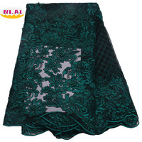 2017 Latest Wine Tulle Lace Fabric High Quality African Lace Fabric With Beads Lace Material For